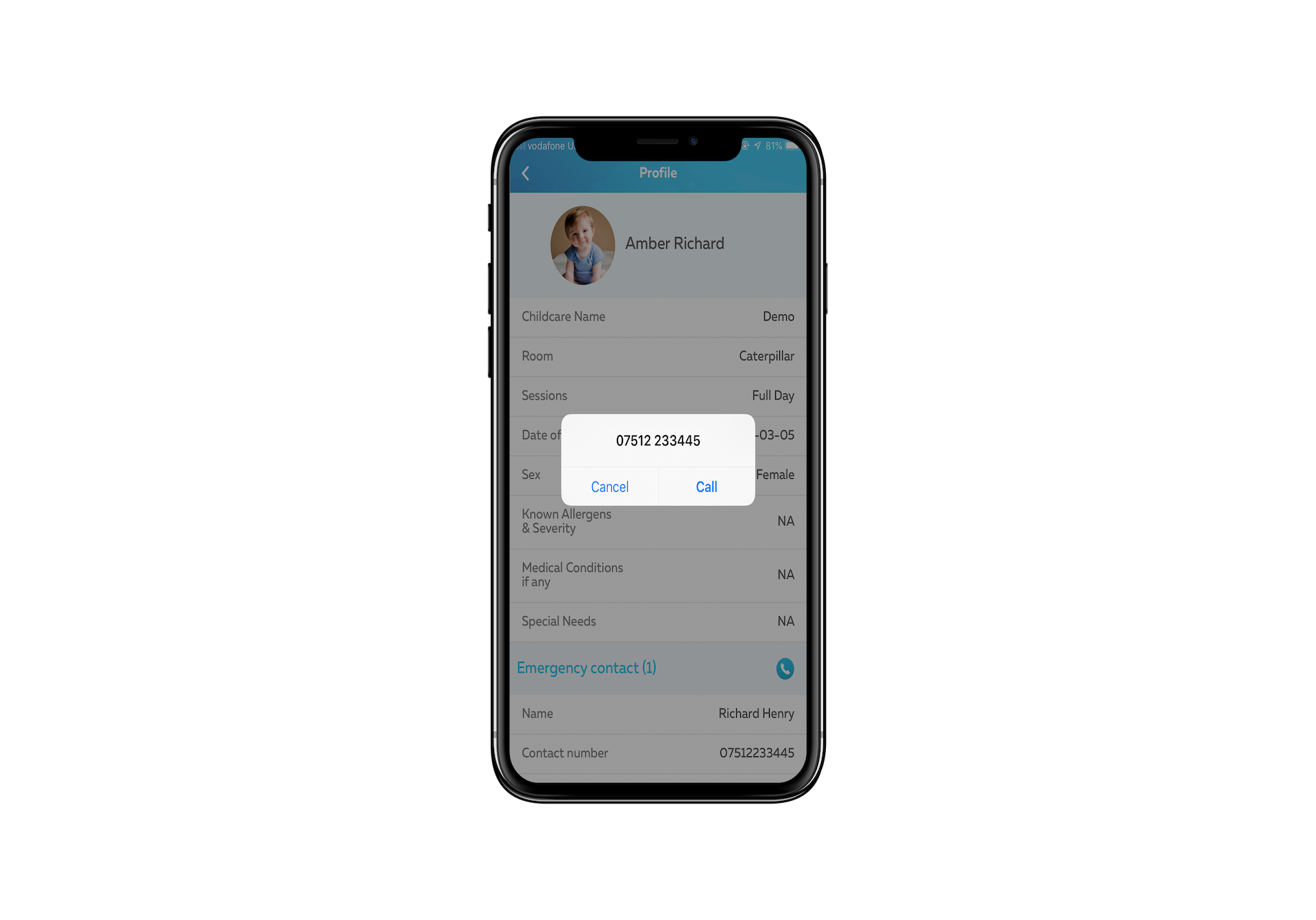 Inbuilt call button in digital sign-in sheets