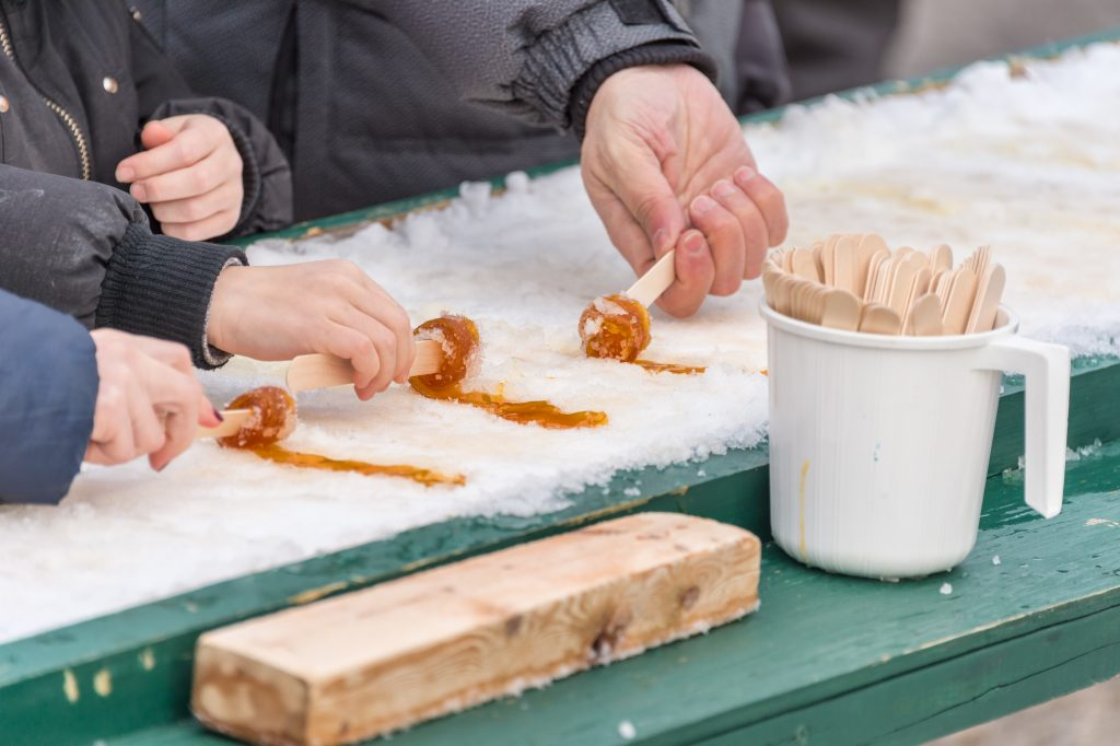 Maple Taffy on Snow - Snow day activities for preschoolers