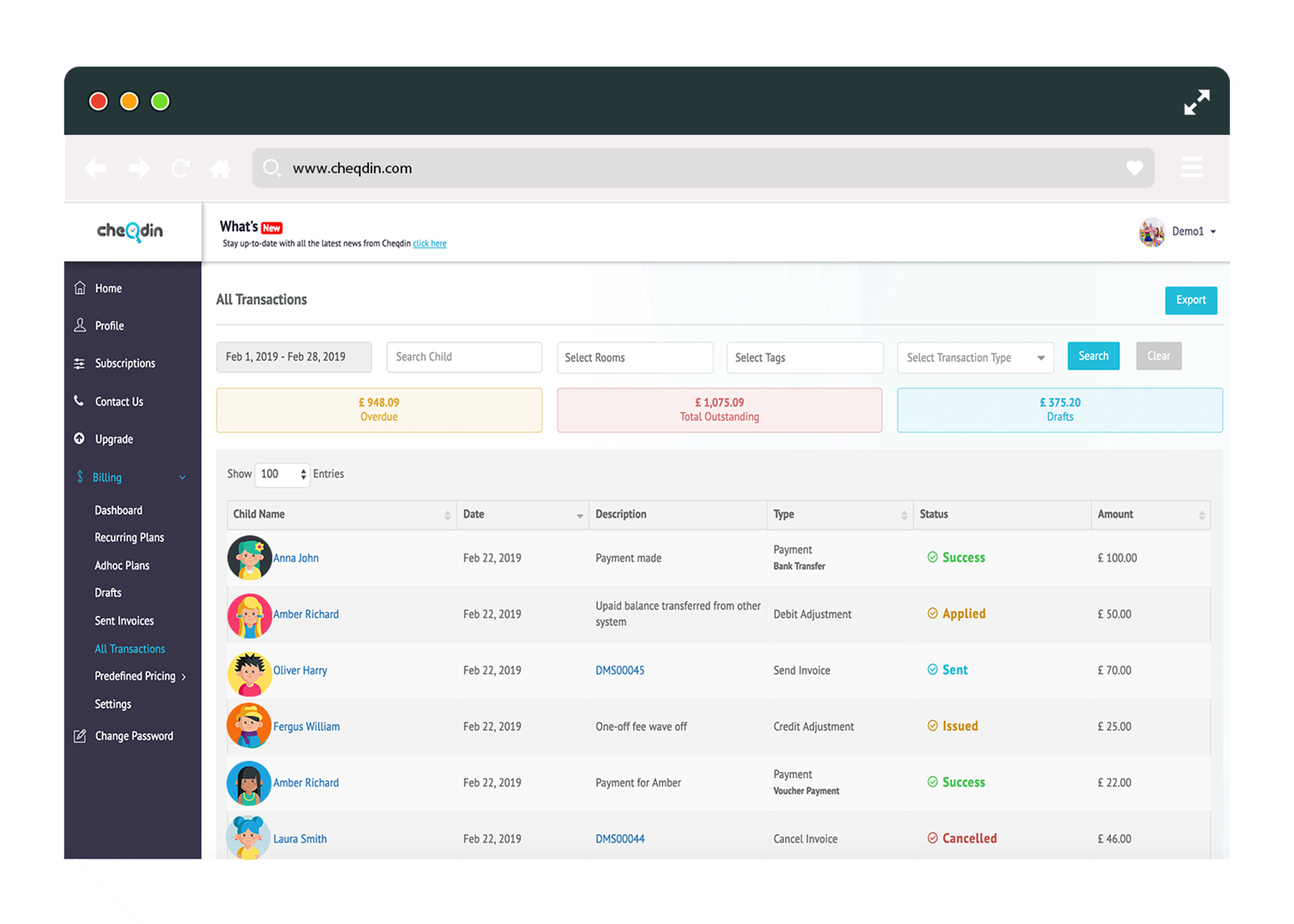 Invoicing dashboard from Cheqdin
