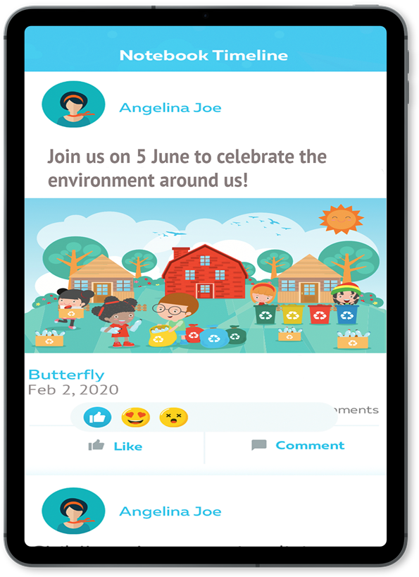 Timeline on Cheqdin's Parent Communication App